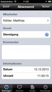 Zeiterfassung-App-Abwesend
